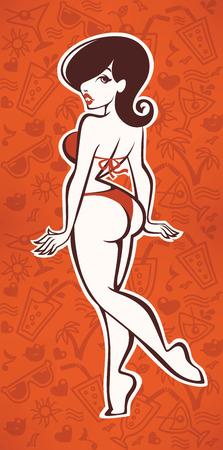 girl sexy: patrones dibujados mano de verano y de dibujos animados sexy girl Vectores
