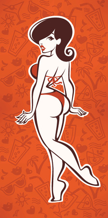 cartoon human: summer hand drawn patterns and cartoon sexy girl Illustration