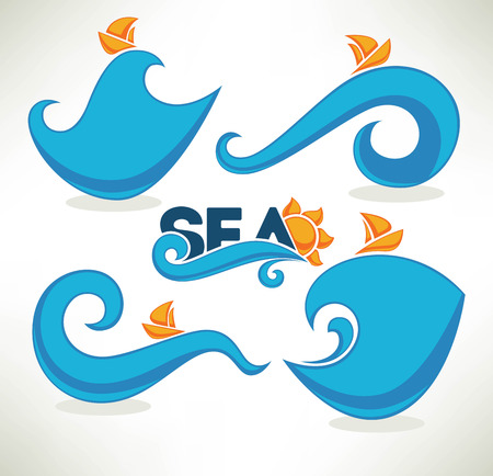 wave vector: summer wave, vector collection of sea and summer stickers and labels