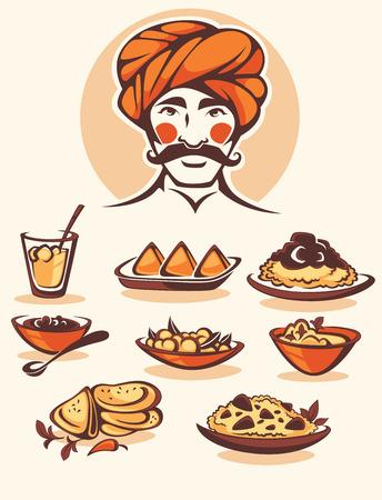 comida: Coleção do vetor de alimentos e chef indiano tradicional de
