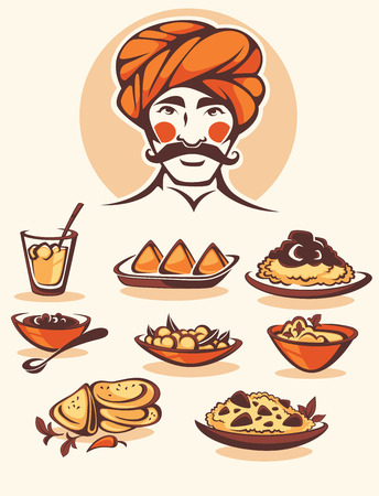 indian food: vector collection of traditional indian food and chef image