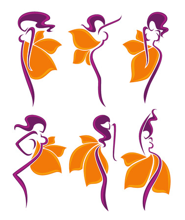 body silhouette: vector collection of abstract women in floral dresses