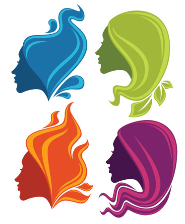 vector collection of stylized girls heads with nature hair