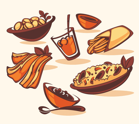dishes: vector images of classic spanish dishes Illustration