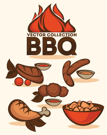takeout: BBQ vector collection of emblems and illustrations Illustration