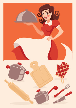 chef knife: kitchen objects and cartoon housewife Illustration