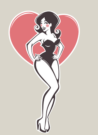 pin up girl: sexy pin up girl on beige background