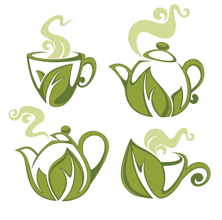 leaf line: green tea, vector collection of forms, symbols and images Illustration