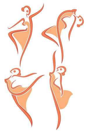 стиль жизни: коллекция векторных абстрактных женщин в танцевальных позах