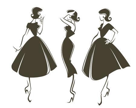 regard: nouvelles filles de look, vector collection des filles dans le style r�tro