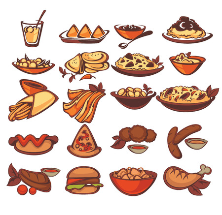 all international food collection: spain, indian, american Illustration
