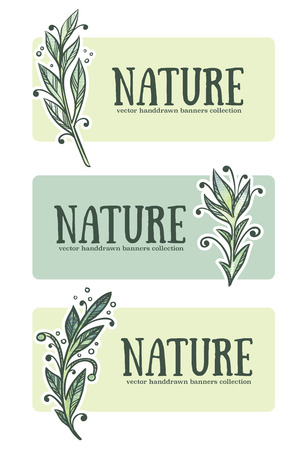 eco notice: vector handdrawn floral banners in doodle style Illustration