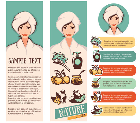spa treatments: beautiful cartoon woman and natural spa icons, emblems and backgrounds collection