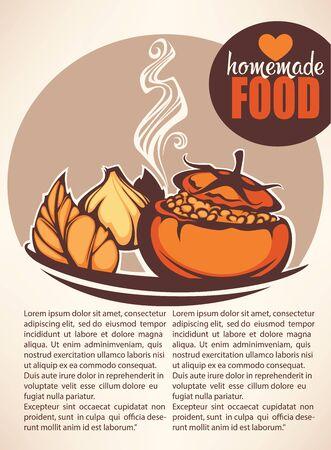 brown rice: homemade food, vector menu background