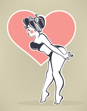 image size: plus size pinup girl on beige background