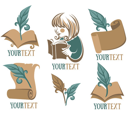 book, reading, education, signs, symbols and logo Stock Illustratie