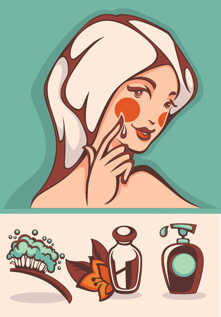 flower bath: beautiful cartoon woman and spa icons and emblems collection