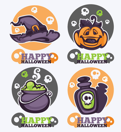 jack pack: vector collection of Halloween symbols, logo and icons in cartoon style