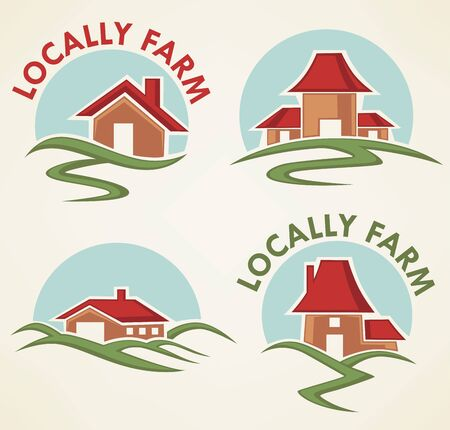 meadow: locally farm and homes, vector collection of property symbols, logo and emblems Illustration