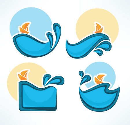 wetness: holiday on water, vector collection of travel icons and emblems