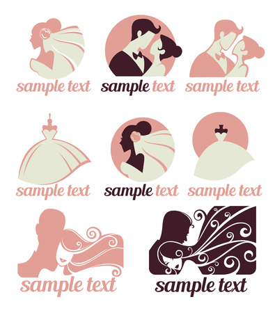 pink wedding: bride and groom, wedding icons emblems logo