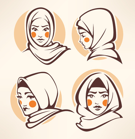 femme musulmane: belle collection de filles arabian Illustration
