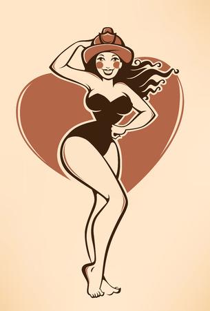 brandweer cartoon: sexy vector pinup firewoman in retro cartoon-stijl Stock Illustratie