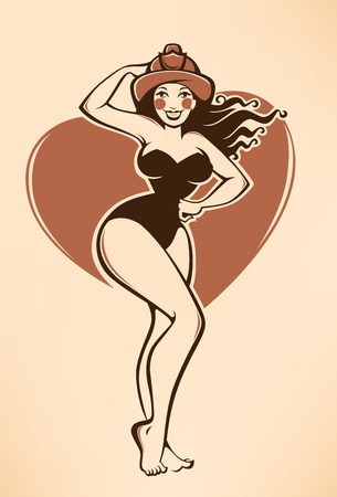 young girl underwear: sexy vector pinup firewoman in retro cartoon style