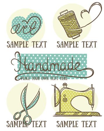 デザイン、クラフト、手作りシンボルと落書きスタイルのエンブレム  イラスト・ベクター素材