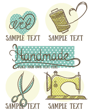 art and craft: design, craft and handmade symbol and emblems in doodle style