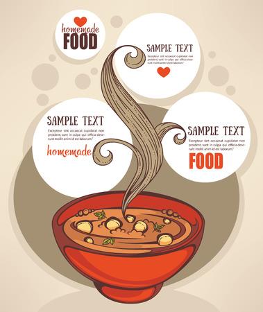 Soupe de légumes de modèle de conception. La nourriture faite maison fond du menu Banque d'images - 43897901