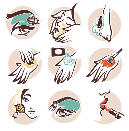face skin: spa, beauty and cosmetic, vector emblems collection