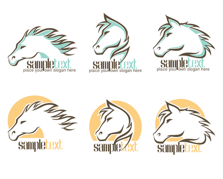 the fastest: wild horse , vector symbols and emblems collection