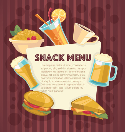 bacground: vector bacground for your snack menu, cartoon style Illustration