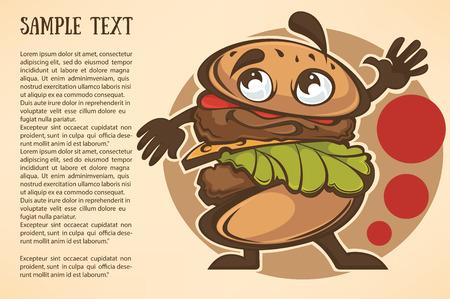 souse: funny cartoon vector burger background