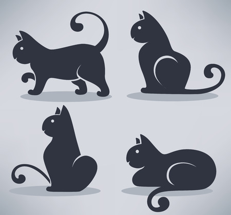 sit stay: lovely black cats, my favorite pets, vector collection Illustration