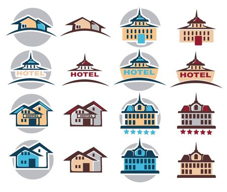 hotel building: hotel, home, cottage,  building Icon,  emblem vector collection