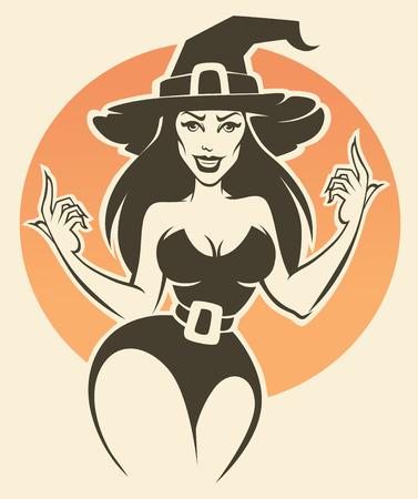 brujas caricatura: joven y atractiva bruja de Halloween, ilustración invitación de vectores