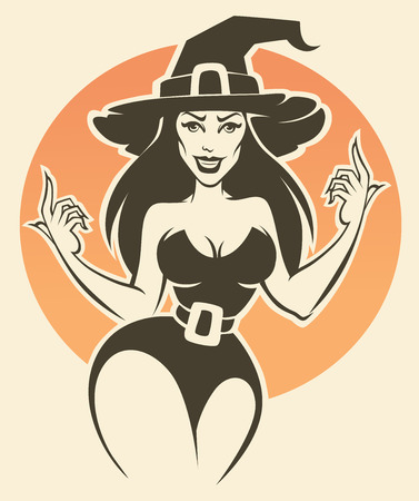 cartoon carnival: young and sexy halloween witch, vector invitation illustration