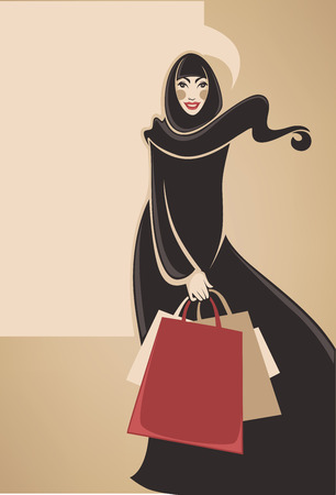 muslim fashion: beautiful image of arabic muslim woman doing shopping, vector illustration