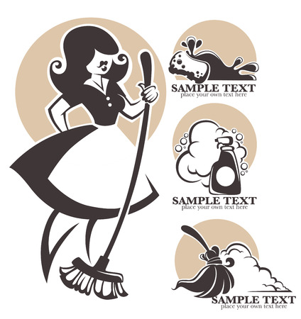 classic woman: retro vector collection, cleaning emblems, logo, symbols