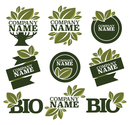 signs and symbols: vector collection of leaf signs, logo, symbols and organic slogans