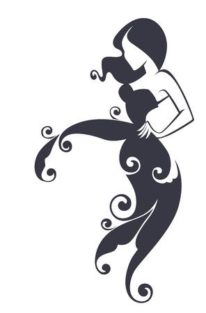 siluetas de mujeres: hermosa chica en vestido de flores, ilustración vectorial