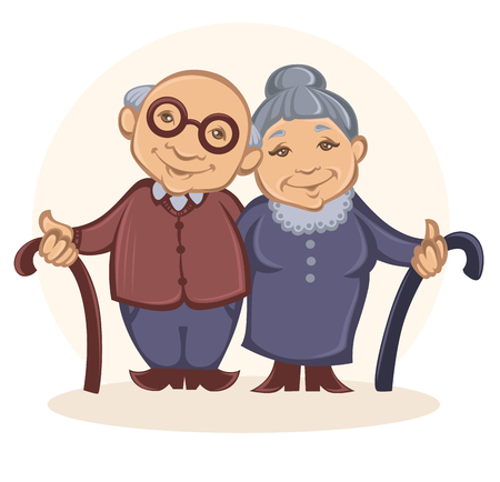 old people smiling: grandparents, vector image of happy old people in cartoon style