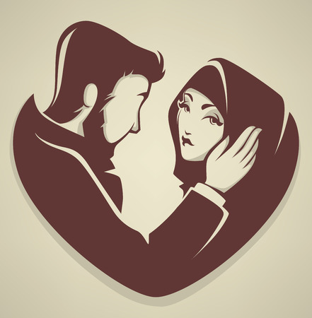 婚禮: 穆斯林的愛,夫婦,婚禮,新郎和新娘 向量圖像