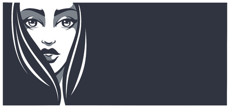 make up eyes: lovely beauty banner, vector image of girl face with place for your text