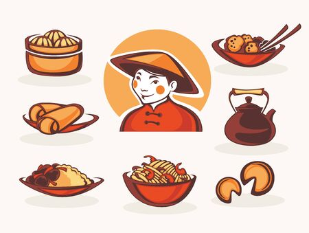 spring roll: vector collection of chinese food symbols