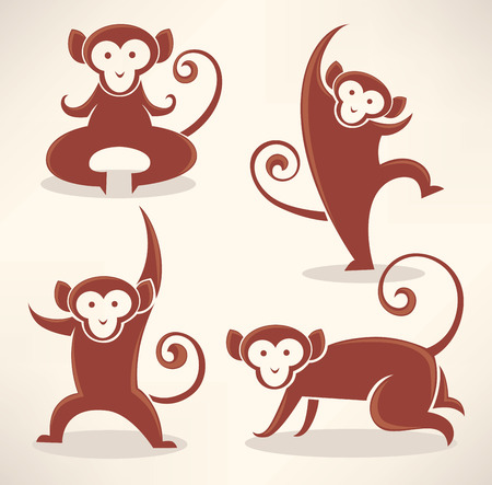 asian friends: funny monkey silhouettes, vector collection of symbols of 2016