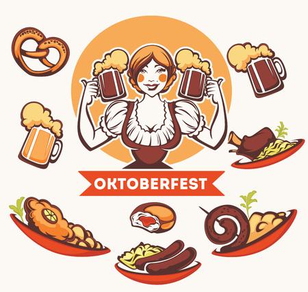 comida alemana: vector chica alemana y la recogida de comida tradicional alemana para el menú de Oktoberfest Vectores