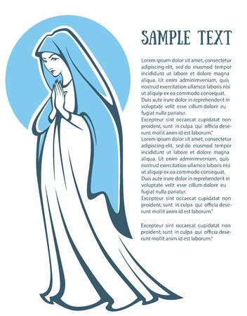 virgen maria: ilustración vectorial de rezar virgen María